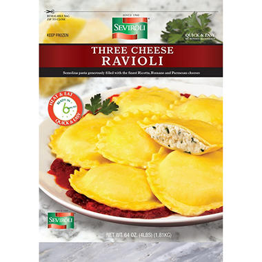 Seviroli Three Cheese Round Ravioli (4 lbs.)