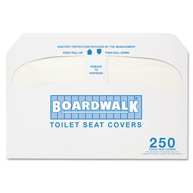 Boardwalk - Premium Half-Fold Toilet Seat Covers, 250 Covers/Sleeve -  10 Sleeves/Carton