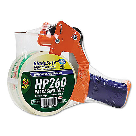 "Duck Bladesafe - Bladesafe Antimicrobial Tape Gun w/Tape, 3"" Core, Metal/Plastic -  Orange"