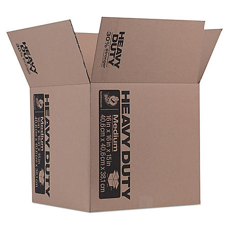 """Duck Heavy-Duty Moving/Storage Boxes, 16"""" L x 16"""" W x 15"""" H, Brown"""