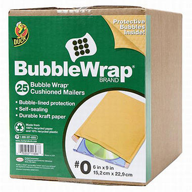 Duck Bubble Wrap® Cushioned Mailers #0 - 25 pk.