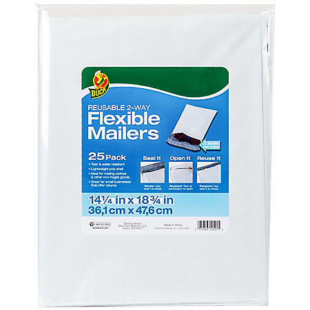 """Duck Brand Reusable 2-Way Flexible Mailers, 14.25"""" x 18.75"""", White, 25 Pack"""