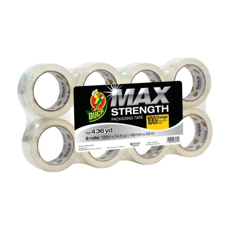 Duck® MAX Strength Packaging Tape - Clear, 8 pk, 1.88 in. x 54.6 yd.