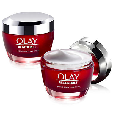 Olay Regenerist Microsculpting Cream (1.7 oz., 2 pk.) CoverGirl Smoothers SPF 21 Tinted Coverage, Fair to Light [805], 1.35 oz (Pack of 2)