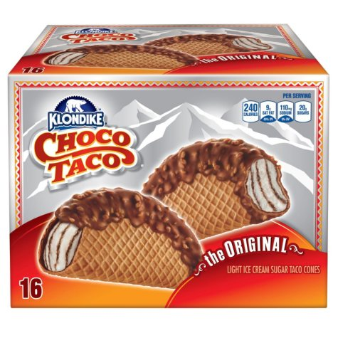 Klondike Choco Taco Light Ice Cream Sugar Taco Cones - 3.5 oz. - 16 ct.