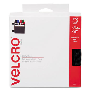 Velcro - Sticky-Back Hook and Loop Fastener Tape with Dispenser, 3/4 x 15 ft. Roll - Black