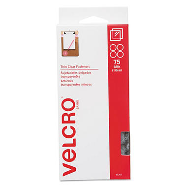 Velcro Sticky-Back Hook and Loop Fasteners, 5/8 Inch Diameter, Clear, 75 per Pack
