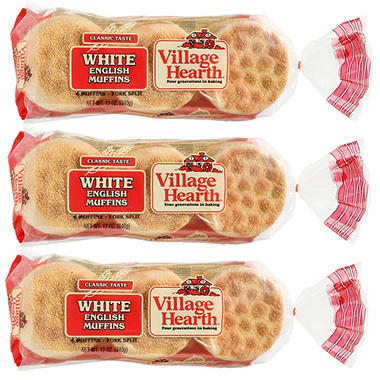 Village Hearth® English Muffins - 12 oz. - 3 pkgs.