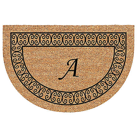 """Classic Border Half Round Mat with Initial - 24"""" x 36"""""""