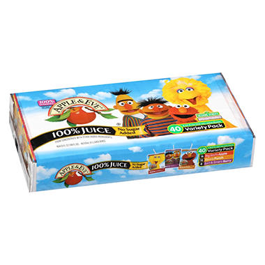 Apple & Eve Sesame Street Juice Variety Pack (4.23 fl. oz. boxes, 40 pk.)