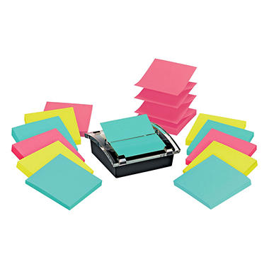 Post-It Note Dispenser w/ two 6 Pk's of Super Sticky Post-it Pop-up Notes in Miami Colors