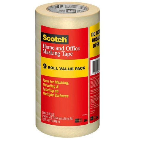 "Scotch® Masking Tape, 1"" x 55yds, 3"" Core, Tan, 9-pk."