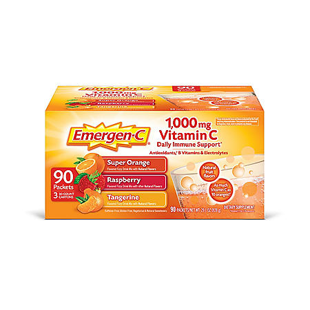 Emergen-C Variety Pack Dietary Supplement Drink Mix with 1000mg Vitamin C, 3 Flavors (90 ct., 32 oz. pks.)