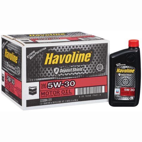 Chevron Havoline w/Deposit Shield 5w30 Motor Oil - 1 Quart Bottles - 12 pk.
