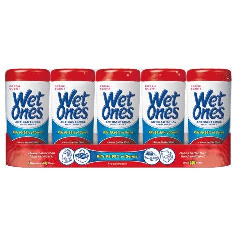 Wet Ones Anibacterial Hand Wipes - Fresh Scent - 5 pk.
