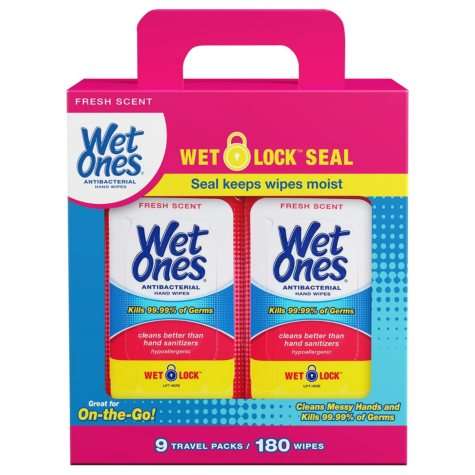 Wet Ones Antibacterial Hand Wipes, Fresh Scent Travel Packs (180 ct.)