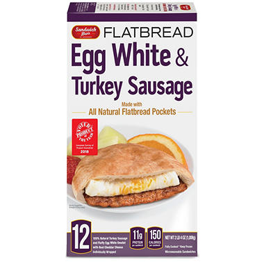 Sandwich Brothers Egg White and Turkey Sausage Flatbread Sandwich ...
