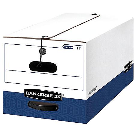 Bankers Box LIBERTY Heavy-Duty Strength Storage Box, White/Blue (Letter, 12/Carton)