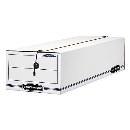 """Bankers Box LIBERTY Record Form Storage Box, White/Blue (9 1/2"""" x 23 1/4"""" x 6"""", 12/Carton)"""