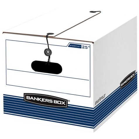 Bankers Box STOR/FILE Extra Strength Storage Box, White/Blue (Letter/Legal, 12/Carton)