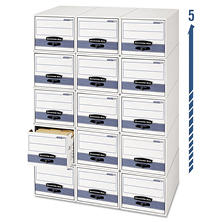 Bankers Box - STOR/DRAWER Steel Plus Storage Box, Check Size, Wire, White/Blue -  12/CT