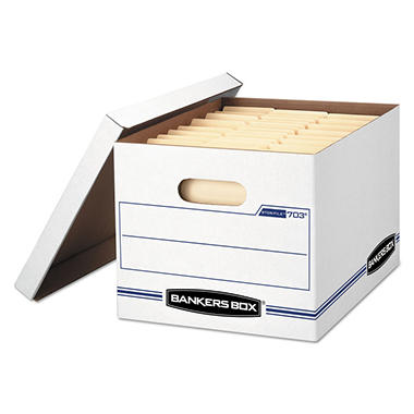 Bankers Box STOR/FILE Storage Box With Lift Off Lid, White/Blue