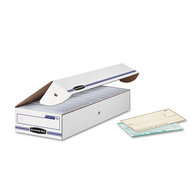 Bankers Box - STOR/FILE Storage Box, Check, Flip-Top Lid, White/Blue -  12/Carton