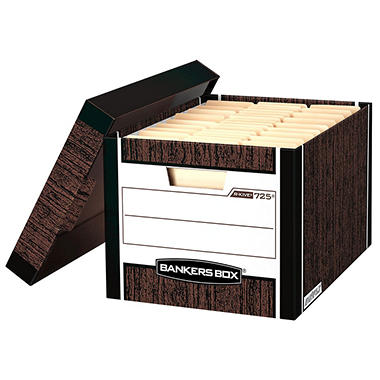 Bankers Box - R-KIVE Max Storage Box, Letter/Legal, Locking Lid, Woodgrain -  12/Carton