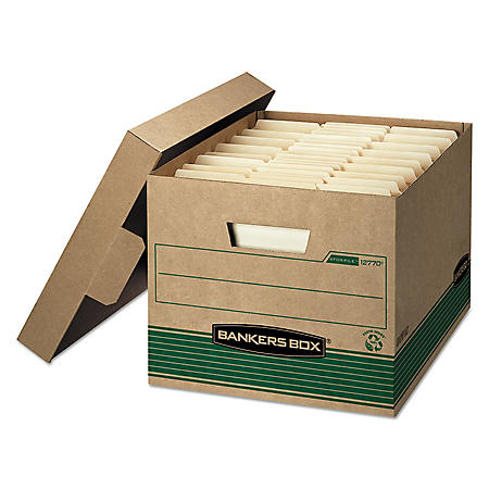 Bankers Box STOR/FILE Extra Strength Storage Box, Kraft/Green (Letter/Legal, 12/Carton)