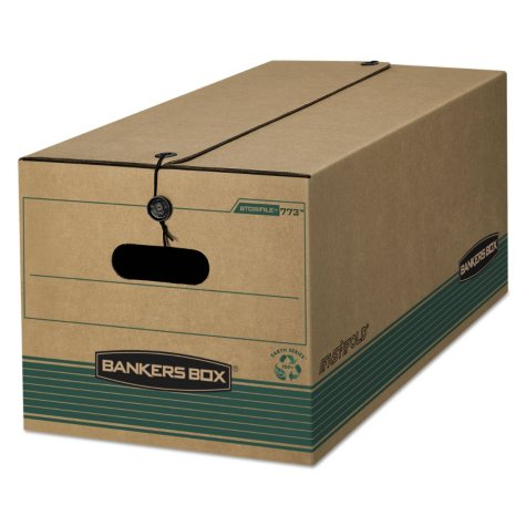 Bankers Box - Stor/File Extra Strength Storage Box - Letter - String/Button - Kraft/Green - 12/Carton