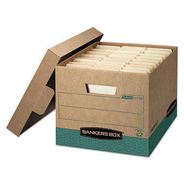Bankers Box - R-KIVE Storage Box, Letter/Legal, Locking Lift-off Lid, Kraft/Green -  12/Carton
