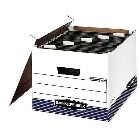Bankers Box HANG'N'STOR Storage Box with Lift-off Lid, White/Blue (Legal/Letter, 4ct.)