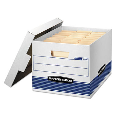 Bankers Box - STOR/FILE Med-Duty Letter/Legal Storage Boxes, Locking Lid, White/Blue -  12/CT