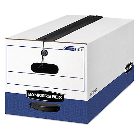 Bankers Box LIBERTY Plus Storage Box with String/Button Closure, White/Blue (Letter, 12/Carton)