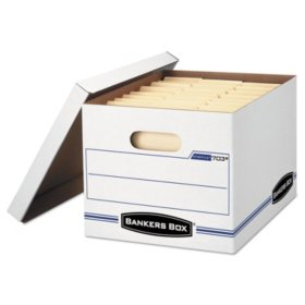 Bankers Box Stor/File Storage Box with Lift-Off Lid, White (Letter/Legal, 6/Pack)