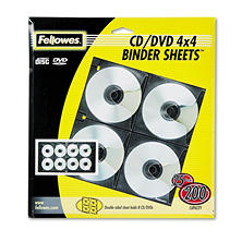 Fellowes - Two-Sided CD/DVD Refill Sheets for Three-Ring Binder -  25/Pack