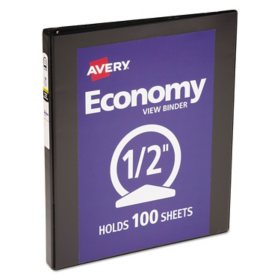 "Avery Economy Vinyl Round Ring View Binder, 8 1/2"" x 11"", Black, Choose a Size"