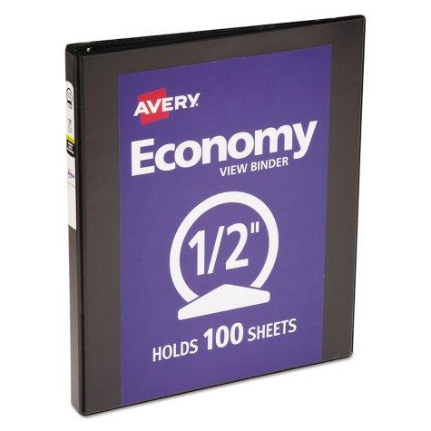 "Avery Economy Vinyl Round Ring View Binder, 8 1/2"" x 11"", 1/2"" Capacity, Black"