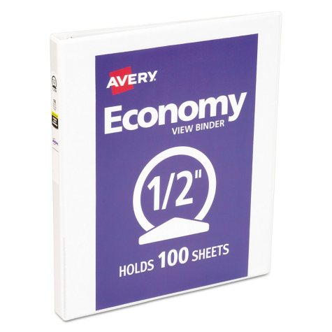 """Avery Economy View Binder w/Round Rings, 11"""" x 8 1/2"""", White (Select Size)"""