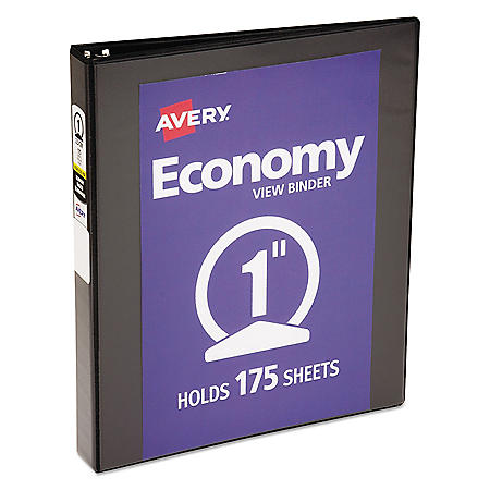 "Avery Economy View Binder with Round Rings , 3 Rings, 1"" Capacity, 11 x 8.5, Black"