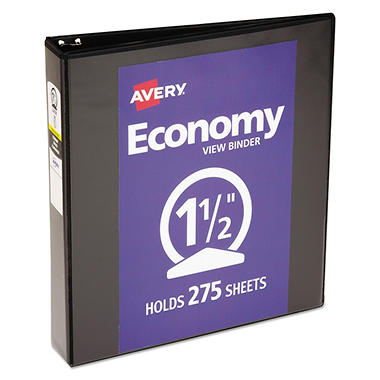 Avery Economy Vinyl Round Ring View Binder, 1 1/2