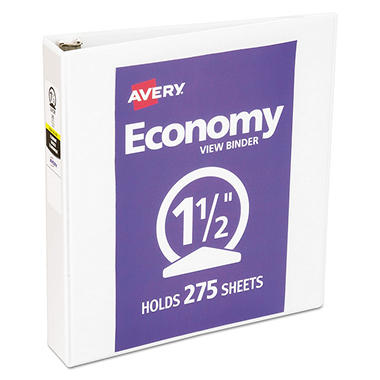 Avery  Economy Reference View Binders, White