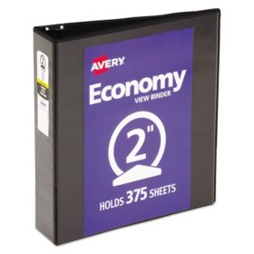 "Avery Economy Vinyl Round Ring View Binder, 2"" Capacity - Black"