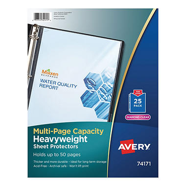 Avery Multi-Page Top-Load Sheet Protectors - Heavy Gauge - Letter - Clear - 25 ct.