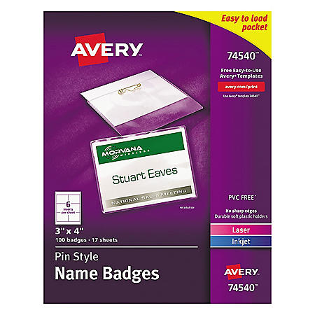 Avery Pin-Style Badge Holder with Laser/Inkjet Insert, Top Load, 4 x 3, White, 100/Box