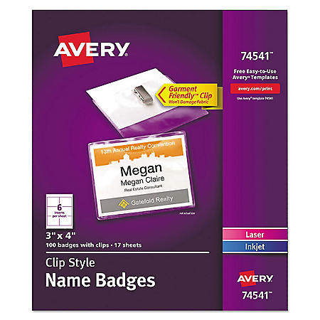 Avery Clip-Style Name Badge Holder w/Laser/Inkjet Insert, Top Load, 3 x 4, WE, 100/Box