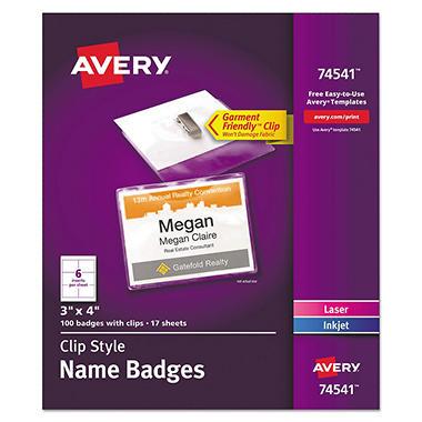 avery laser inkjet clip style name tag kits sam s club