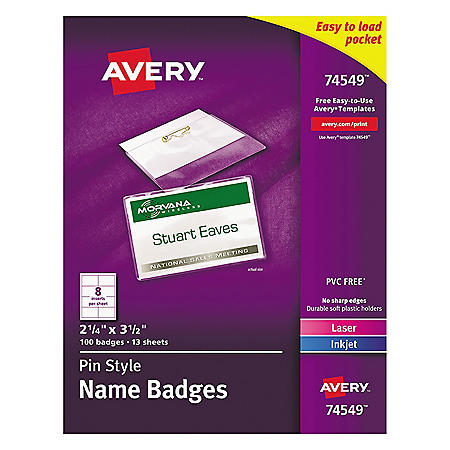 Avery Pin-Style Badge Holder w/Laser/Inkjet Insert, Top Load, 2.25 x 3.5, WE, 100/Box