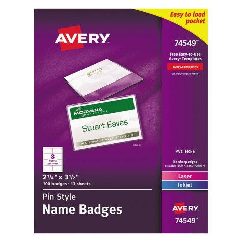 Avery Laser/Inkjet Pin Style Name Badge Holders