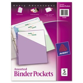 Avery 3-Ring Binder Poly, Pockets 5 Pack, Assorted Colors